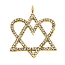Золотой кулон Звезда Давида с сердцем из бриллиантов