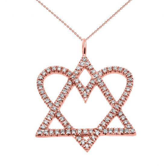 Кулон Звезда Давида с сердцем из бриллиантов, Больше Изображение 1