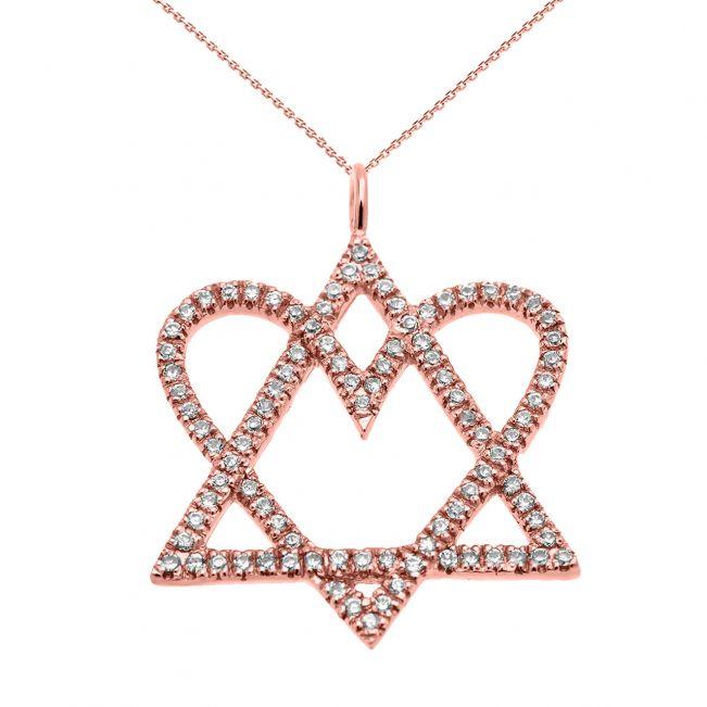 Кулон Звезда Давида с сердцем из бриллиантов
