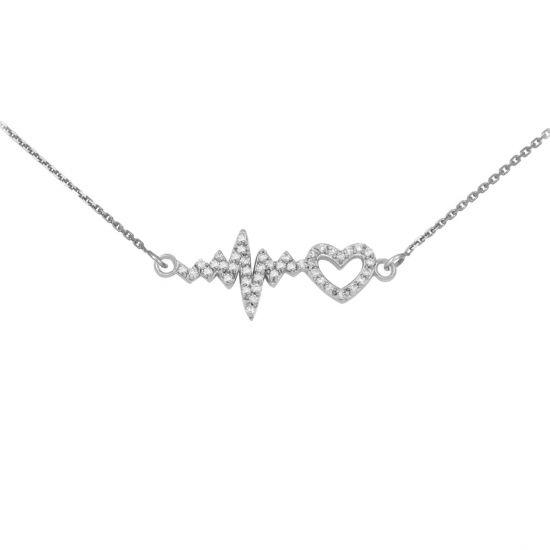Подвеска Пульс сердца с бриллиантами, Больше Изображение 1