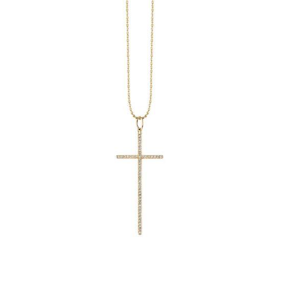 Украшение на шею Крест с бриллиантами,  Больше Изображение 2