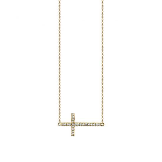 Украшение на шею в виде креста с бриллиантами, Больше Изображение 1