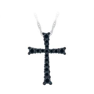 Украшение на шею в виде креста с черными бриллиантами
