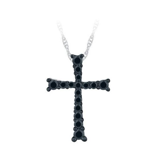 Украшение на шею в виде креста с черными бриллиантами, Больше Изображение 1