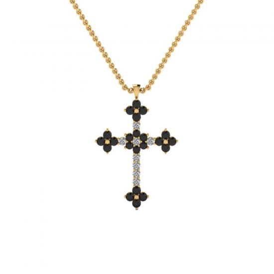 Крестик с белыми и черными бриллиантами, Больше Изображение 1