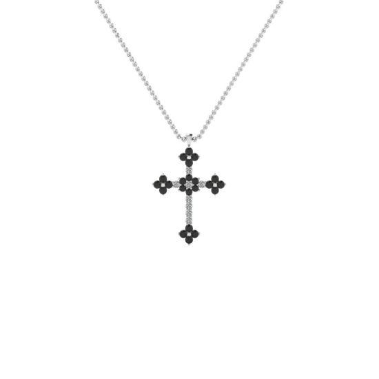 Крестик с белыми и черными бриллиантами,  Больше Изображение 3