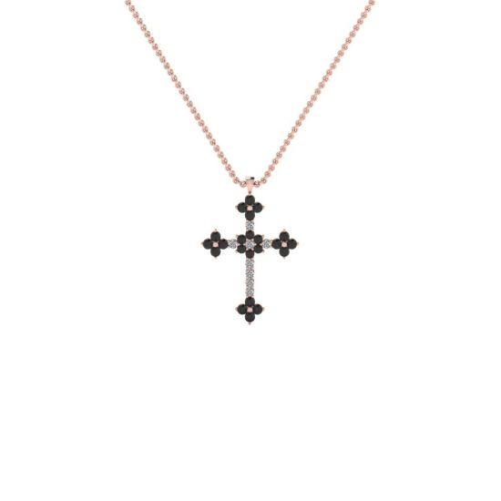 Крестик с белыми и черными бриллиантами,  Больше Изображение 2