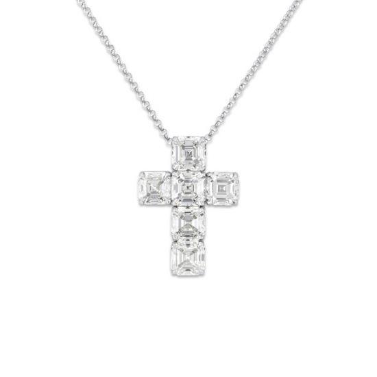 Крестик с бриллиантами огранки ашер, Больше Изображение 1