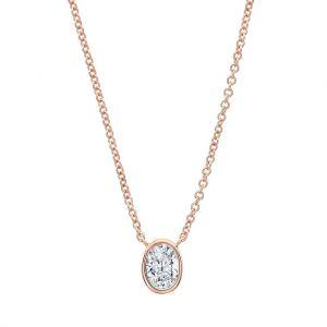 Кулон с овальным бриллиантом в розовом золоте