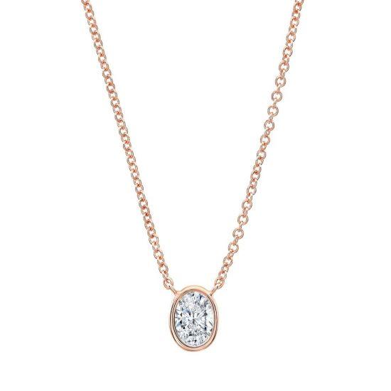 Кулон с овальным бриллиантом в розовом золоте, Больше Изображение 1