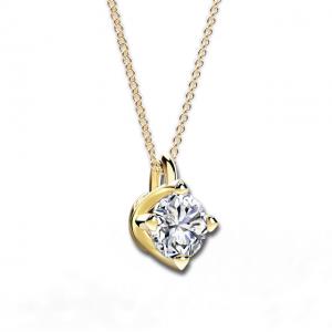 Кулон с круглым белым бриллиантом