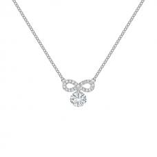 Кулон с круглым белым бриллиантом и символом бесконечности