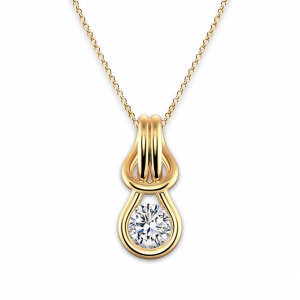 Кулон с круглым бриллиантом в золоте