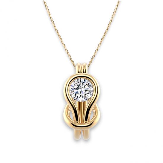 Кулон с белым бриллиантом в узле,  Больше Изображение 3