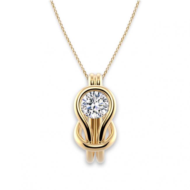 Кулон с белым бриллиантом в узле - Фото 2