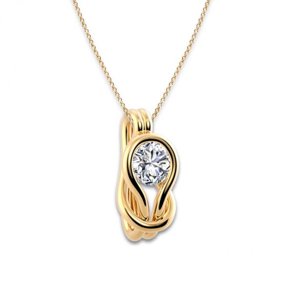 Кулон с белым бриллиантом в узле,  Больше Изображение 6