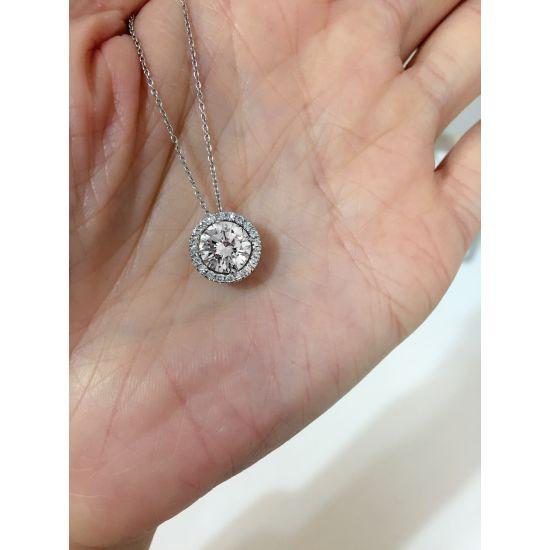 Кулон с круглым белым бриллиантом в ореоле,  Больше Изображение 3