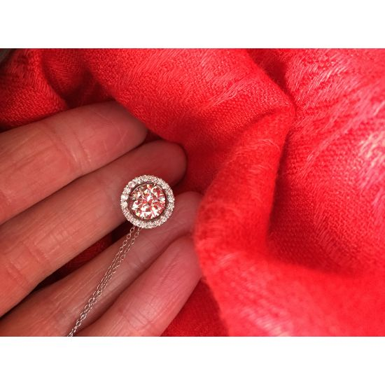 Кулон с круглым белым бриллиантом в ореоле,  Больше Изображение 5