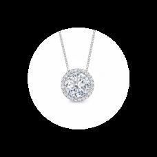 Кулон с круглым белым бриллиантом в ореоле