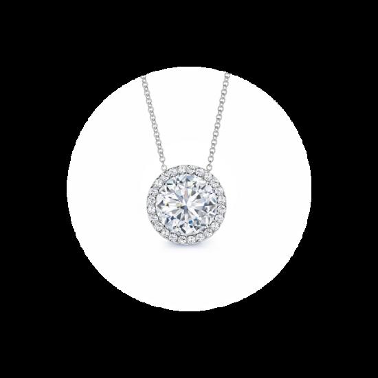 Кулон с круглым белым бриллиантом в ореоле, Больше Изображение 1