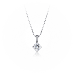 Кулон с белым бриллиантом огранки «радиант»