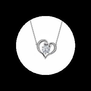 Кулон в виде сердца с круглым белым бриллиантом