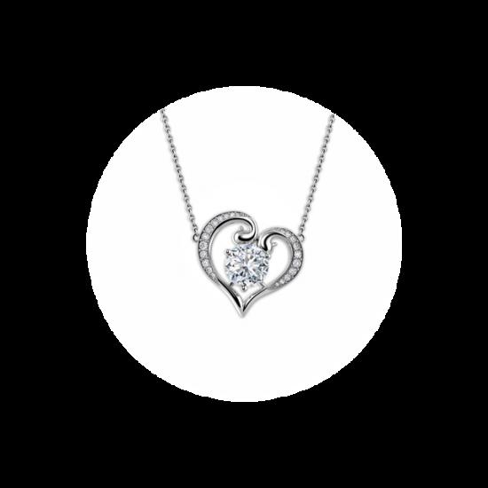 Кулон в виде сердца с круглым белым бриллиантом, Больше Изображение 1