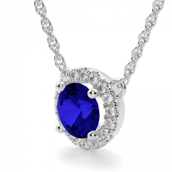 Кулон с круглым сапфиром и бриллиантами,  Больше Изображение 2
