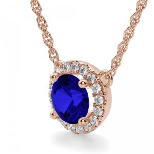 Кулон из розового золота сапфиром и бриллиантами