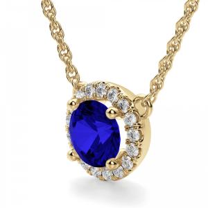 Кулон из золота с сапфиром и бриллиантами