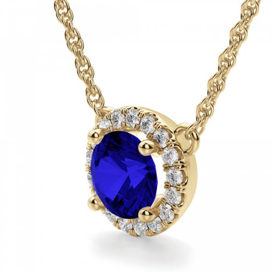 Кулон из золота с сапфиром и бриллиантами,  Больше Изображение 2