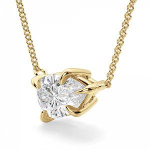 Кулон с бриллиантом груша из желтого золота