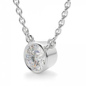 Кулон с круглым белым бриллиантом в глухой закрепке
