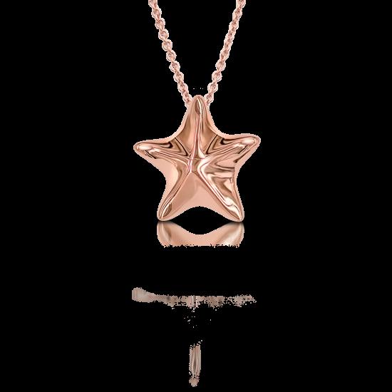 Золотой кулон Морская звезда на цепочке, Больше Изображение 1
