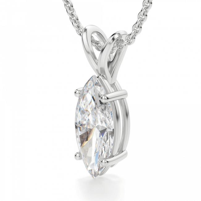 Кулон с бриллиантом маркиз на цепочке - Фото 1