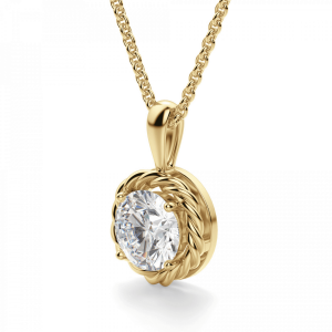 Кулон плетеный золотой с бриллиантом