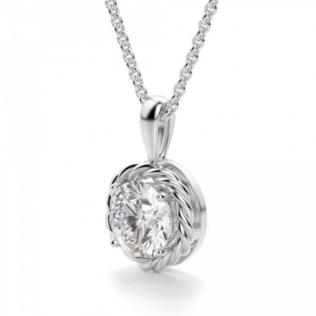 Кулон плетеный с круглым бриллиантом