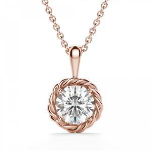 Кулон плетеный с бриллиантом из розового золота