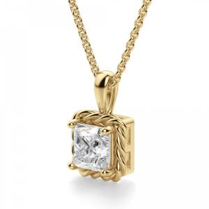 Кулон золотой плетеный с бриллиантом принцесса