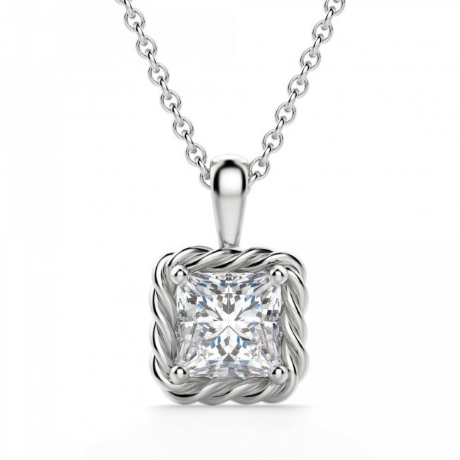 Кулон плетеный с бриллиантом принцесса