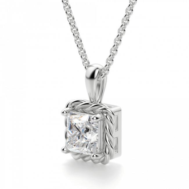 Кулон плетеный с бриллиантом принцесса - Фото 1