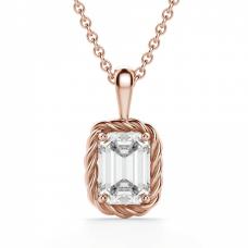 Кулон из розового золота с бриллиантом эмеральд