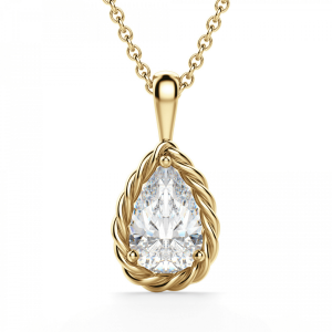 Кулон золотой плетеный с бриллиантом капля