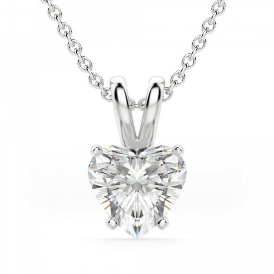 Кулон из золота с бриллиантом сердце, Больше Изображение 1