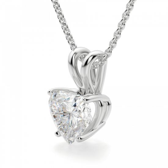 Кулон из золота с бриллиантом сердце,  Больше Изображение 2