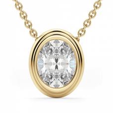 Кулон с овальным бриллиантом