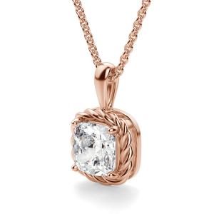 Кулон с бриллиантом кушон из розового золота