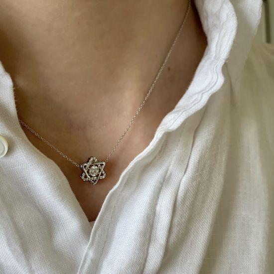 Кулон Звезда Давида с бриллиантами,  Больше Изображение 2