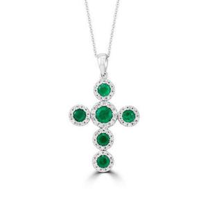 Крестик с изумрудами и бриллиантами в стиле малинка