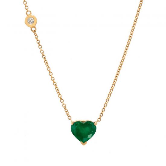 Колье с изумрудом Сердце и бриллиантом, Больше Изображение 1